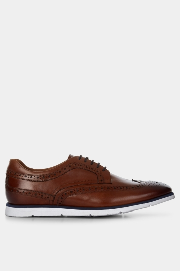 John White Laconia Tan Wedge Sole Brogue Shoe