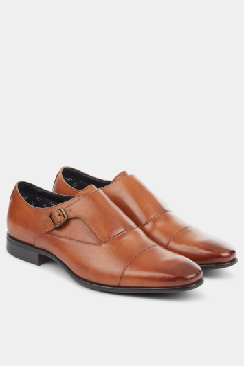 Moss London Clevedon Tan Single-Buckle Toe Cap Monk Shoe