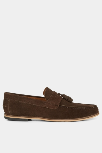 Moss London Winslow Brown Suede Tassel Loafer Shoe