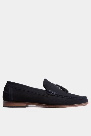 Moss London Winslow Navy Suede Tassel Loafer Shoe