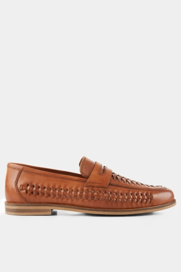 Moss London Ashwick Tan Leather Lattice Loafer Shoe