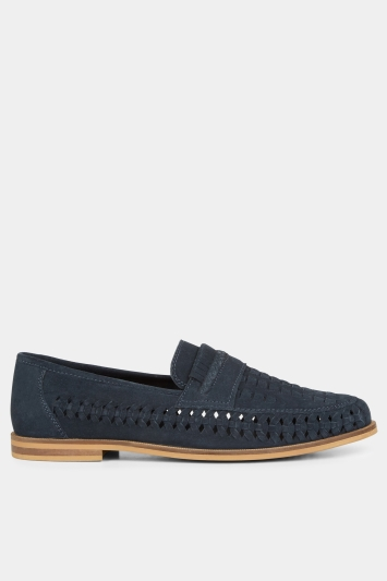 Moss London Kingsley Navy Suede Lattice Loafer Shoe
