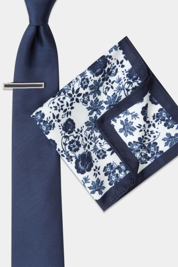 Moss London Navy Floral Tie, Pocket Square & Tie Bar Set