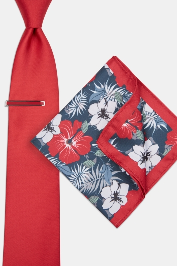 Moss London Red Floral Tie, Pocket Square & Tie Bar Set
