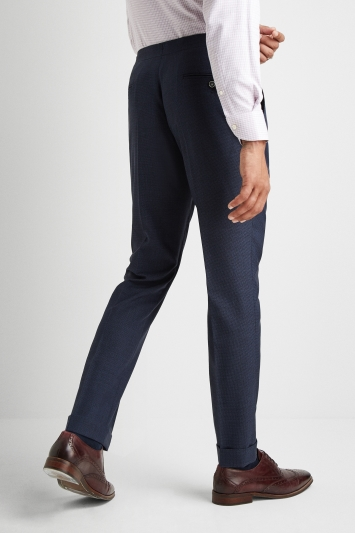 Savoy Taylors Guild Regular Fit Navy Puppytooth Trousers