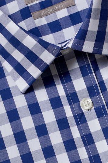 Savoy Taylors Guild Regular Fit Navy Single Cuff Gingham Shirt