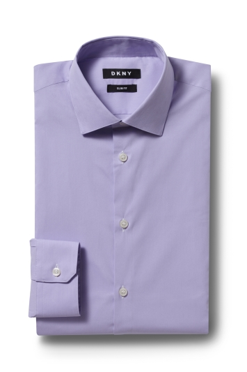 DKNY Slim Fit Lilac Single Cuff Stretch Shirt