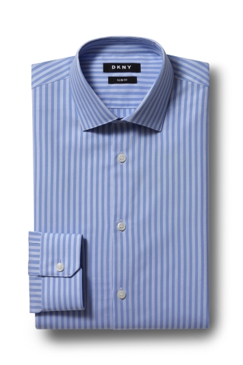 DKNY Slim Fit Blue Single Cuff Stripe Shirt