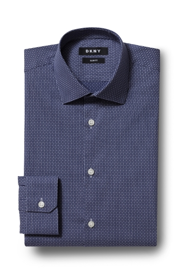 DKNY Slim Fit Navy Single Cuff Stretch Texture Shirt