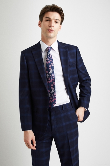 Moss Esq. Regular Fit Navy Shadow Check Jacket