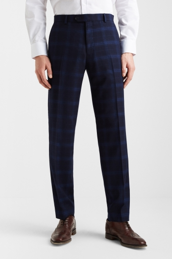 Moss Esq. Regular Fit Navy Shadow Check Trouser