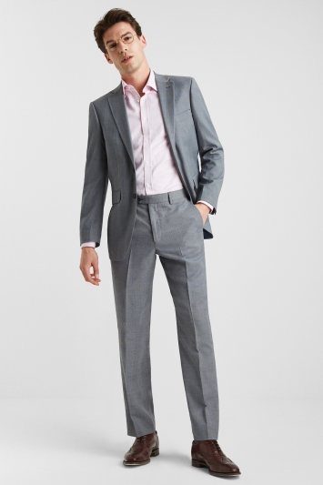 602f2c4533ae Moss Esq. Regular Fit Light Grey with Blue Prince of Wales Check Jacket