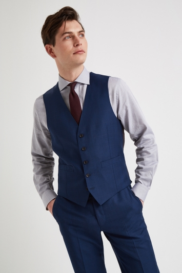 Ermenegildo Zegna Cloth Tailored Fit Blue Check Waistcoat