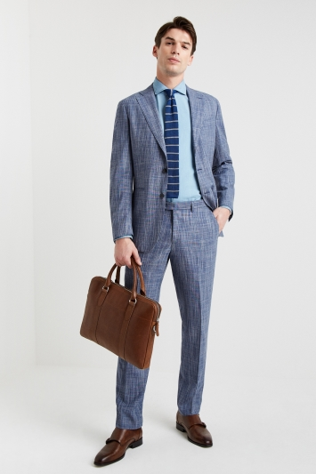 Ermenegildo Zegna Cloth Tailored Fit Summer Blue Texture Jacket