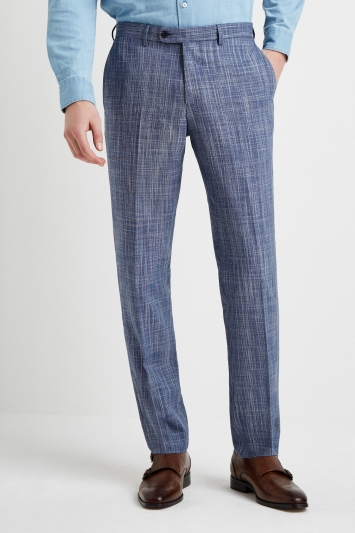 Ermenegildo Zegna Cloth Tailored Fit Summer Blue Texture Trouser