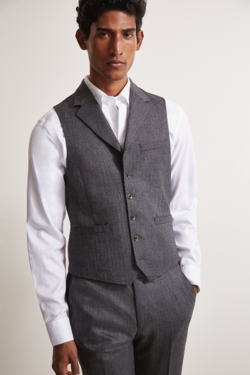 Moss London Premium Slim Fit Charcoal Herringbone Tweed Waistcoat