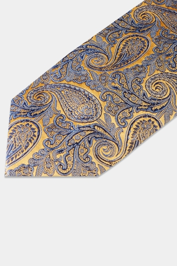 c5c7298aded8 Moss 1851 Made in England Gold & Blue Paisley Tie