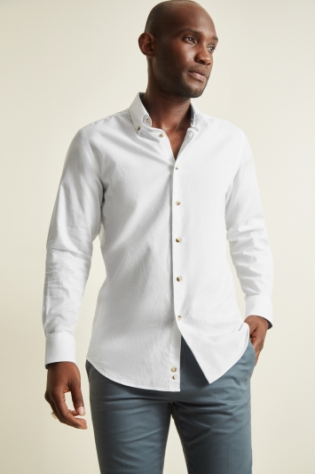 Moss 1851 White Tailored Fit Single Cuff Textured Shirt