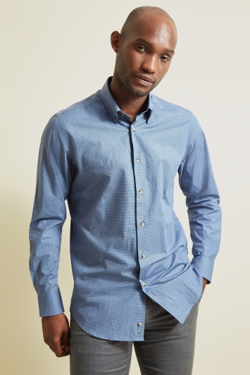 Moss 1851 Tailored Fit Blue Single Cuff Melange Check Shirt