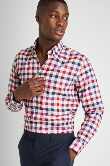 Moss 1851 Tailored Fit Pink Single Cuff Check Shirt