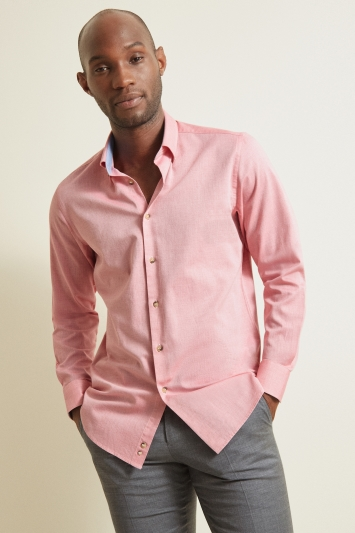 Moss 1851Tailored Fit Pink Single Cuff Textured Shirt