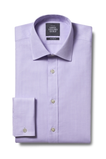 STG Exclusive Tailored Fit Lilac Double Cuff Herringbone Shirt