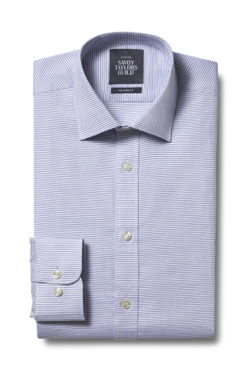 Savoy Taylors Guild Tailored Fit Blue Single Cuff Textured Dobby Shirt