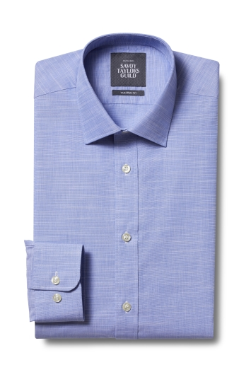 STG Exclusive Tailored Fit Blue Single Cuff Slub Plain Shirt
