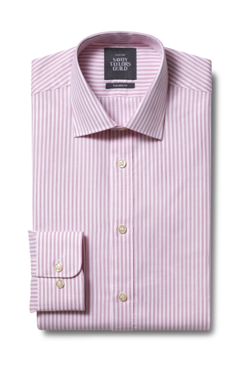 Savoy Taylors Guild Tailored Fit Pink Single Cuff Bengal Shirt