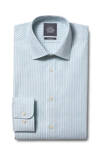 Savoy Taylor Guild Exclusive Tailored Fit Green Single Cuff Bengal Shirt