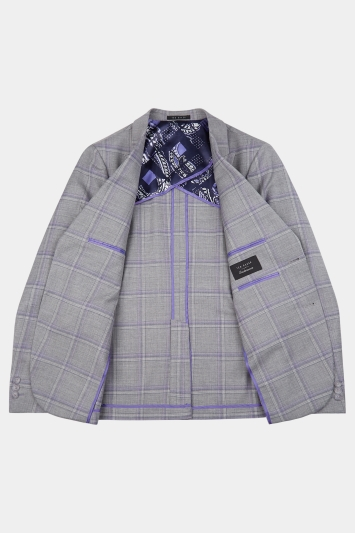 Ted Baker Slim Fit Grey with Lilac Check Jacket