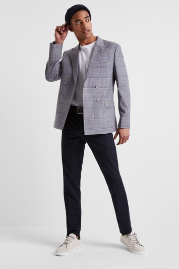 1559754708e6 Ted Baker Slim Fit Grey with Lilac Check Double Breasted Jacket