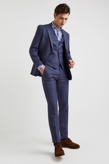 Moss 1851 Tailored Fit Indigo Lightweight Linen Jacket