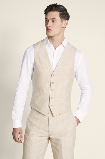 Moss 1851 Tailored Fit Stone Lightweight Linen Jacket
