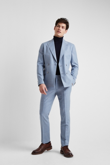 da05f899f7f4 Moss London Premium Slim Fit Soft Blue Texture Double Breasted Jacket
