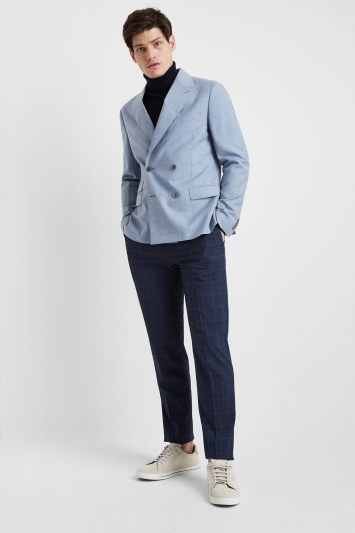 Moss London Premium Slim Fit Soft Blue Texture Double Breasted Jacket