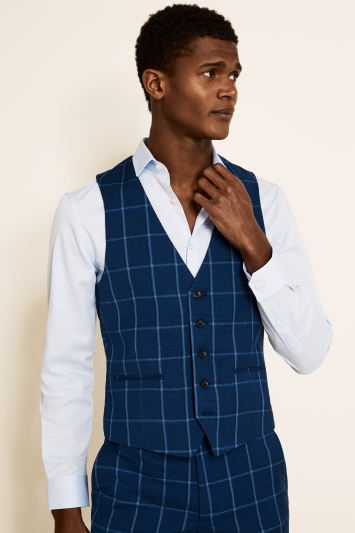 Moss London Slim Fit Blue Check Jacket