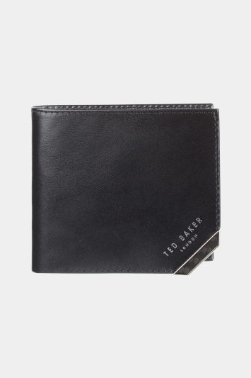 Ted Baker Black Boozip Carbon Fibre Coin Zip Bifold Wallet