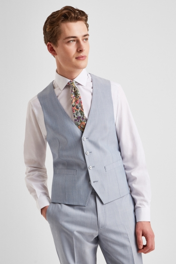 French Connection Powder Blue Marl Regular Fit Waistcoat
