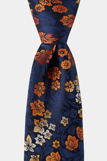 Moss Esq. Navy & Orange Ombre Floral Tie