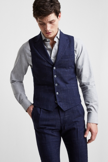 3fa86e8e3f3 Moss London Premium Slim Fit Blue Scratch Check Waistcoat