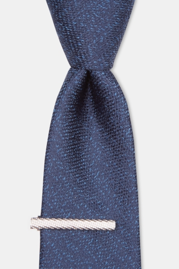 Moss London Navy Soft-Handle Semi-Plain Tie with Clip