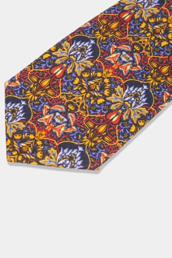 Moss London Orange Kaleidoscope Print Tie with Clip