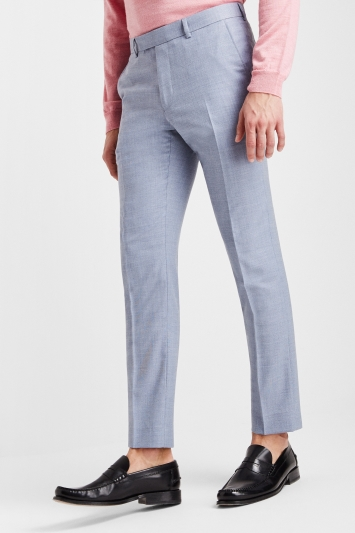 Moss London Premium Slim Fit Soft Blue Texture Trousers