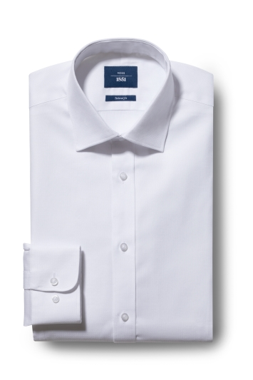 Moss 1851 Tailored Fit White Single Cuff Textured Shirt