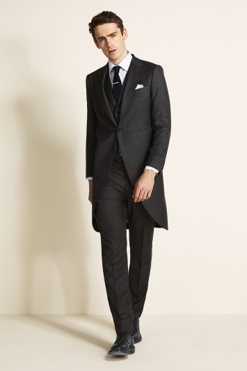 Moss Covent Garden Tailored Fit Grey Sharkskin Morning Coat