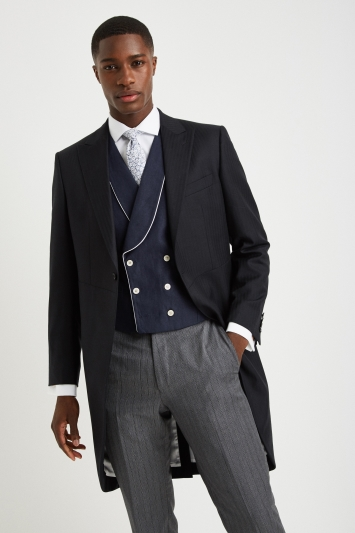 Moss Covent Garden Tailored Fit Navy Linen Double Breasted Waistcoat