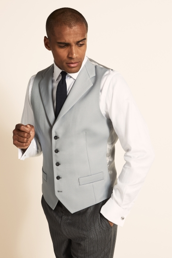 Moss Covent Garden Tailored fit Grey SB Notch Lapel Waistcoat