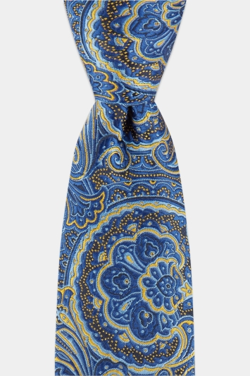 b15d88202a6d Moss London Navy & Yellow Mid-Size Paisley Tie