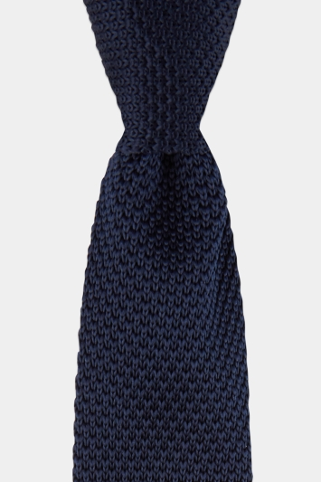 Moss London Navy Knitted Tie